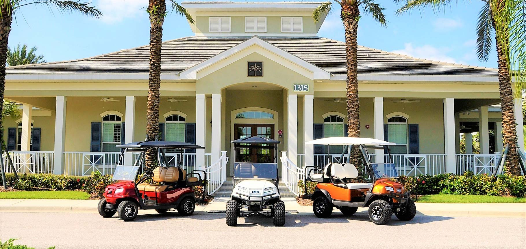 Lineup of three golf carts in front of club image