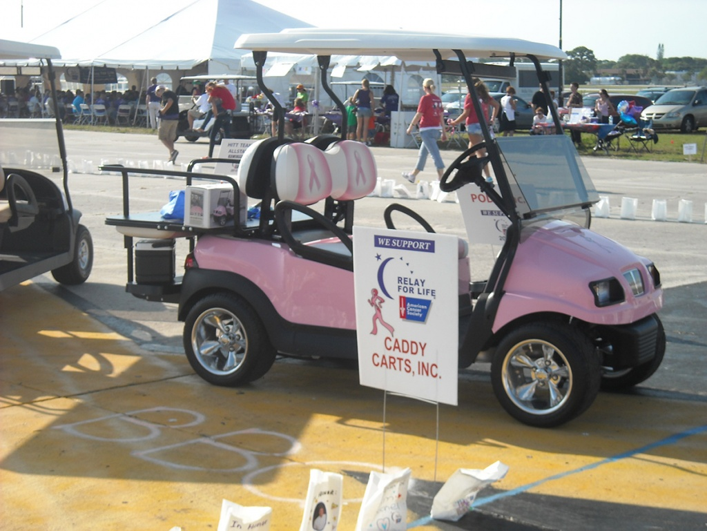 Pink cancer awareness themed golf cart image