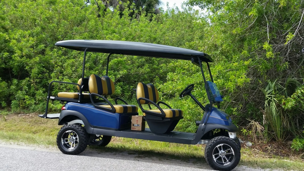 Blue golf cart image