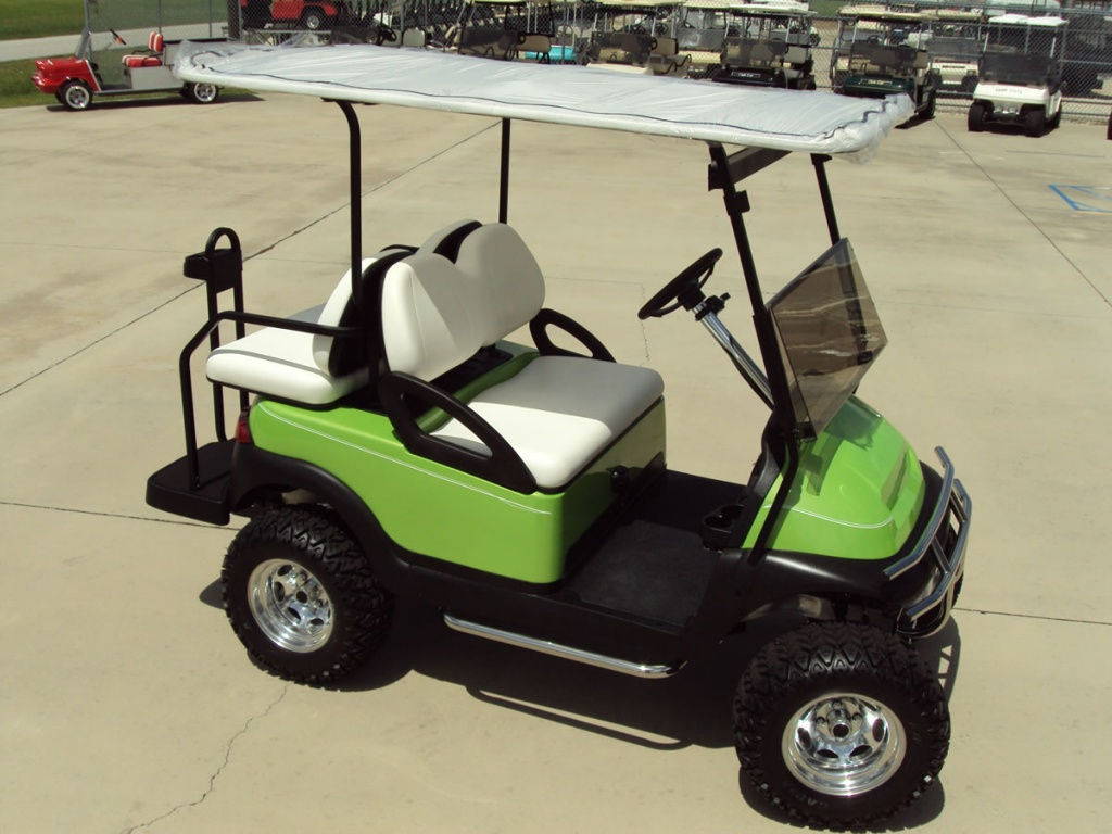 Green golf cart image
