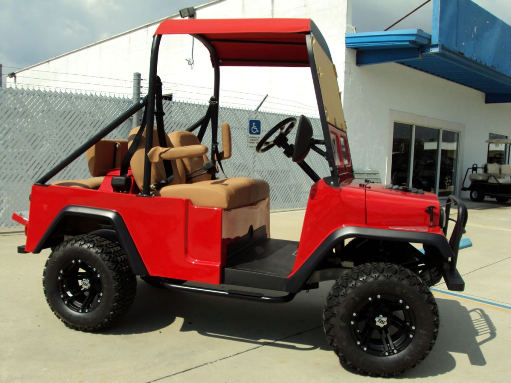 Red Jeep style golf cart image