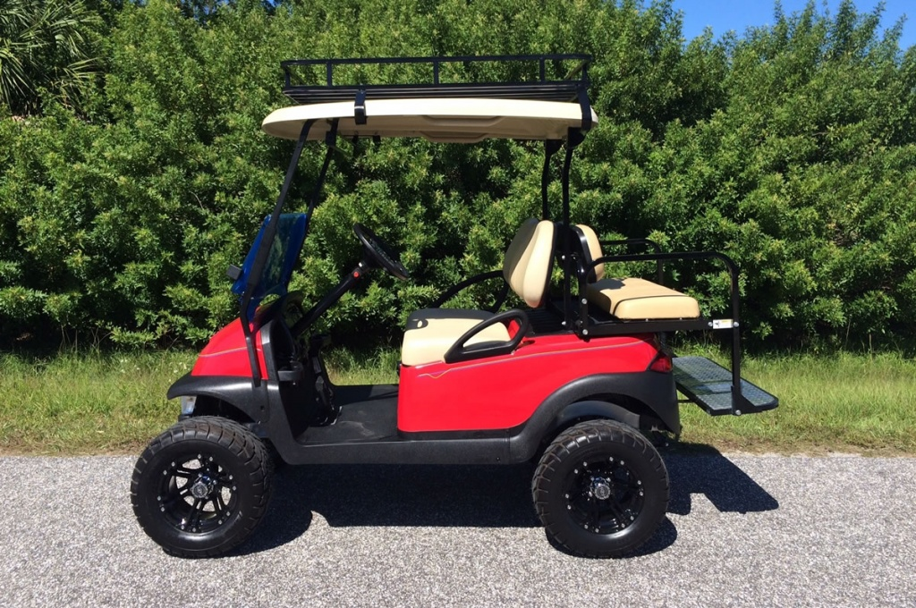 Red golf cart image