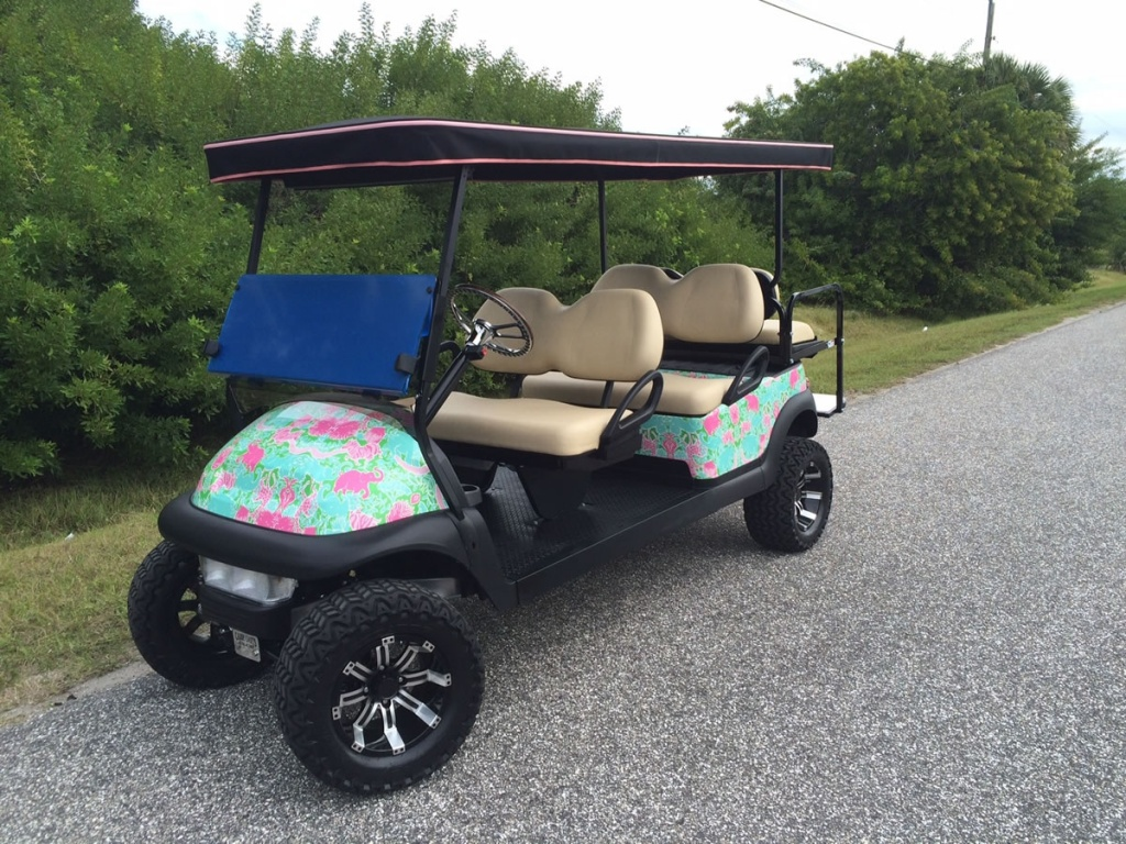 Floral patterned golf cart image