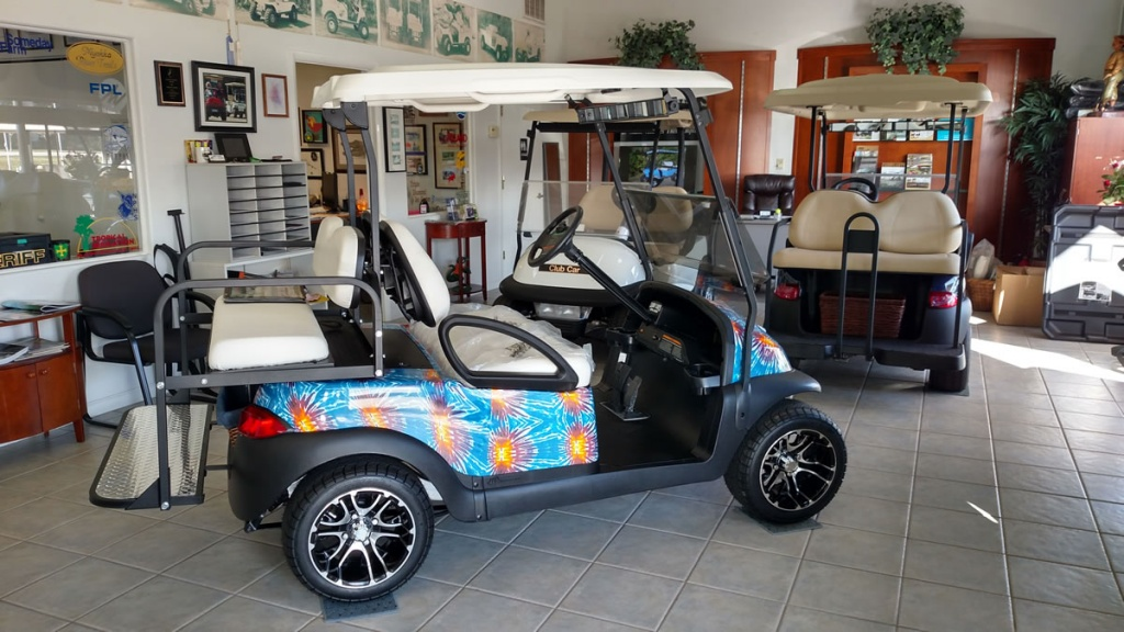 Golf cart with fireworks graphic image