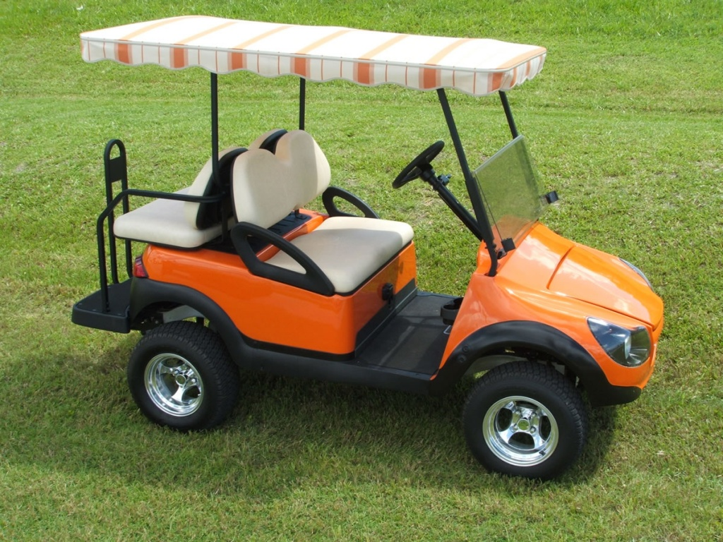 Orange golf cart image