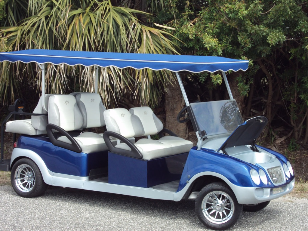 Blue and silver golf cart image