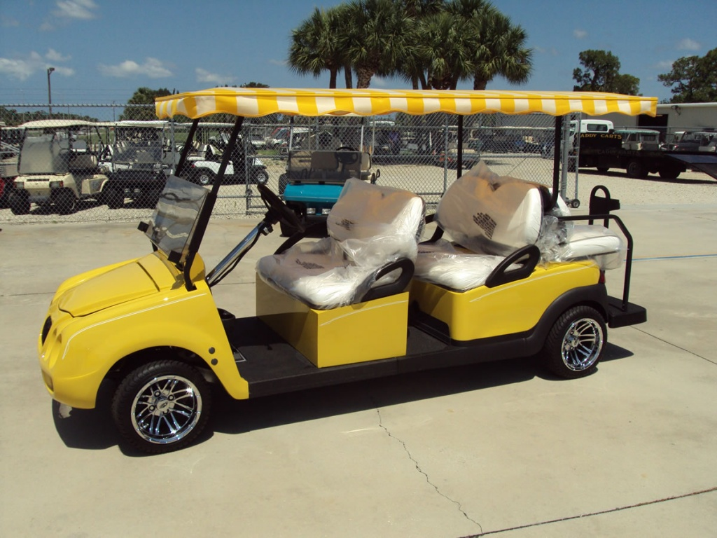 New yellow golf cart image