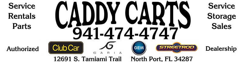 Caddy Carts logo with contact info image